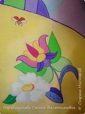 Всем жителям Страны Мастеров большой привет!  Сегодня хочу показать  вам роспись стены в моей дошкольной группе. Хоть это и небольшой уголок, мы называем его фиолетовой комнатой. В этой комнате мы играем в развивающие игры по технологии интеллектуально – творческого развития «Сказочные лабиринты» Воскобовича В. В.  В комнате я нарисовала Фиолетовый Лес и некоторых героев его сказок.Для росписи использовала элементы иллюстраций к книге В. В. Воскобовича «Сказочные лабиринты игры». Это первый мой опыт рисования эмалью.  фото 13