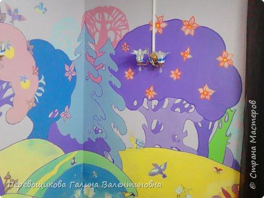 Всем жителям Страны Мастеров большой привет!  Сегодня хочу показать  вам роспись стены в моей дошкольной группе. Хоть это и небольшой уголок, мы называем его фиолетовой комнатой. В этой комнате мы играем в развивающие игры по технологии интеллектуально – творческого развития «Сказочные лабиринты» Воскобовича В. В.  В комнате я нарисовала Фиолетовый Лес и некоторых героев его сказок.Для росписи использовала элементы иллюстраций к книге В. В. Воскобовича «Сказочные лабиринты игры». Это первый мой опыт рисования эмалью.  фото 3