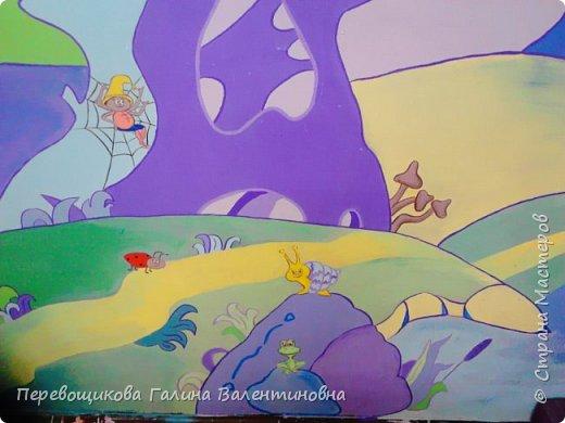 Всем жителям Страны Мастеров большой привет!  Сегодня хочу показать  вам роспись стены в моей дошкольной группе. Хоть это и небольшой уголок, мы называем его фиолетовой комнатой. В этой комнате мы играем в развивающие игры по технологии интеллектуально – творческого развития «Сказочные лабиринты» Воскобовича В. В.  В комнате я нарисовала Фиолетовый Лес и некоторых героев его сказок.Для росписи использовала элементы иллюстраций к книге В. В. Воскобовича «Сказочные лабиринты игры». Это первый мой опыт рисования эмалью.  фото 8