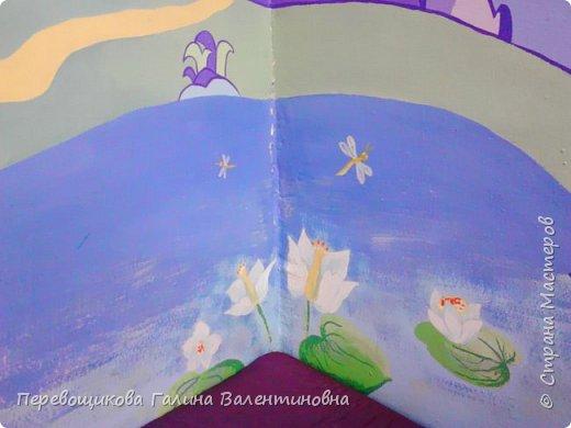 Всем жителям Страны Мастеров большой привет!  Сегодня хочу показать  вам роспись стены в моей дошкольной группе. Хоть это и небольшой уголок, мы называем его фиолетовой комнатой. В этой комнате мы играем в развивающие игры по технологии интеллектуально – творческого развития «Сказочные лабиринты» Воскобовича В. В.  В комнате я нарисовала Фиолетовый Лес и некоторых героев его сказок.Для росписи использовала элементы иллюстраций к книге В. В. Воскобовича «Сказочные лабиринты игры». Это первый мой опыт рисования эмалью.  фото 9