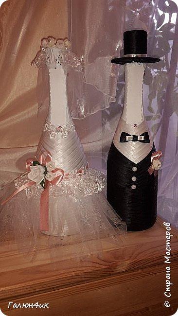 Всем жителя прекрасной страны доброго дня!!! Вот и отгремела свадьба моего сына, выставляю на ваш суд декор шампанского, фужеров, букета дублера( ранее он уже выставлялся).  фото 4