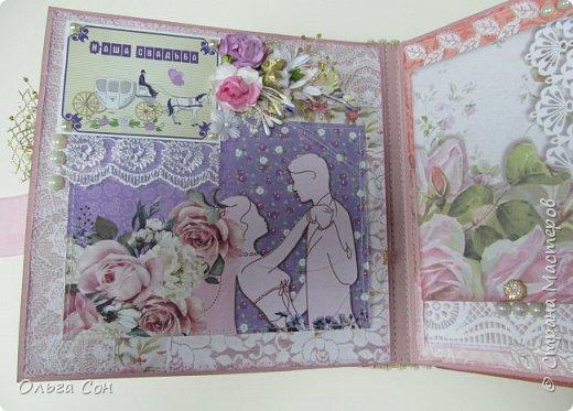Миник размер 20х20 на день свадьбы в качестве поздравления и денежного подарка- внутри конверт для денег. По началу запланирован только для поздравлений, но есть и место примерно для 10-15 ти фотографий размером 9 х13 фото 7
