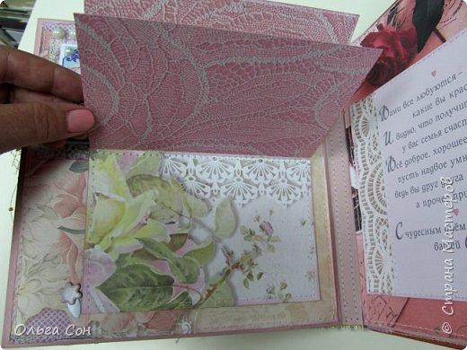 Миник размер 20х20 на день свадьбы в качестве поздравления и денежного подарка- внутри конверт для денег. По началу запланирован только для поздравлений, но есть и место примерно для 10-15 ти фотографий размером 9 х13 фото 12