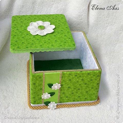 Коробки из картона,в 2 слоя + плотная белая бумага вогруг и потом еще материей обнлеивала фото 6