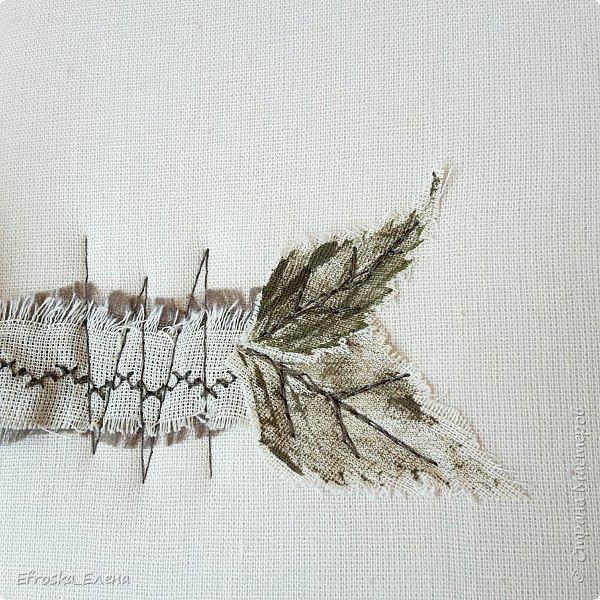 """Добрый вечер всем!  Поделюсь с вами моим творением! Обучаюсь сейчас у Жанны Хуснулиной на курсе """"Магия на обложке"""". На этой неделе нужно было сделать обложку из нескраповых материалов. У меня в ход пошли березовые листья, акрил, ткань, бусины и замшевый шнурок))) фото 3"""
