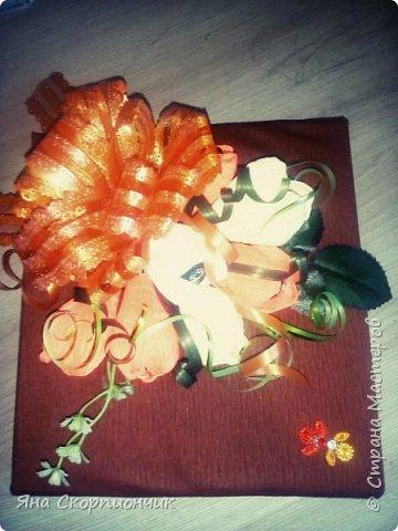 На училась я делать хризантемы. Мастер класс нашла в Стране мастеров. И посадила я эти хризантемы в корзиночку. фото 5