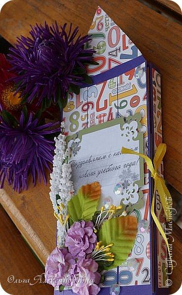 Здравствуйте, дорогие гости и друзья! Совсем скоро 1 Сентября - День Знаний. Девочки и мальчики нарядные пойдут на торжественную линейку. Первоклашки с волнением ждут этого дня. Ждет и моя внуча Машута. Решили с ней не только подарить цветы для первой учительницы, но и небольшой презентик. Вот такая простенькая шоколадница получилась. фото 2