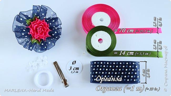 Банты из органзы. Розочки из узких лент. Канзаши МК/DIY фото 3