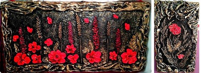 Не *хватало* мне для полного счастья картинок на кухне.) Да и давно хотелось попробовать новую для себя технику скульптурной живописи. На ваш суд 2 панно. Основа-пеноплен, рама-тряпка в гипсе, шпаклёвка для цветов, ну и трава-мурава сушёная. фото 12