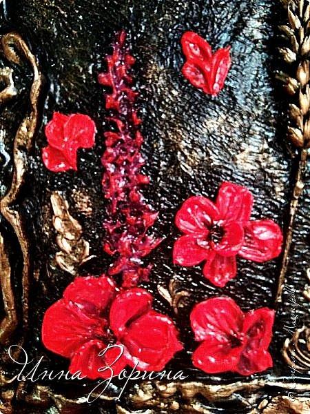 Не *хватало* мне для полного счастья картинок на кухне.) Да и давно хотелось попробовать новую для себя технику скульптурной живописи. На ваш суд 2 панно. Основа-пеноплен, рама-тряпка в гипсе, шпаклёвка для цветов, ну и трава-мурава сушёная. фото 11