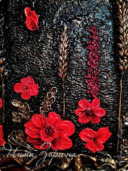 Не *хватало* мне для полного счастья картинок на кухне.) Да и давно хотелось попробовать новую для себя технику скульптурной живописи. На ваш суд 2 панно. Основа-пеноплен, рама-тряпка в гипсе, шпаклёвка для цветов, ну и трава-мурава сушёная. фото 10