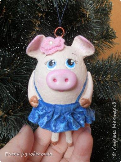 В эти выходные сделала трёх ёлочных свинок. За основу взяла яичную скорлупу. Папье-маше, акриловые краски. Пятачки и ручки из ХФ. Украсила вязаными цветочками. фото 9