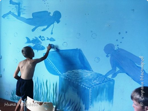 а вот и вторая комната . Захотелось мальчишек в подводный мир погрузить :) Учла их пожелание насчёт сундука - подводного клада... :) фото 3
