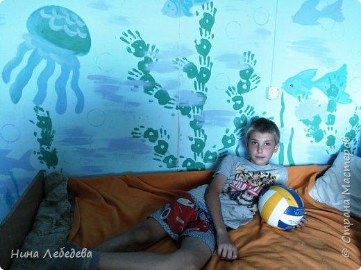 а вот и вторая комната . Захотелось мальчишек в подводный мир погрузить :) Учла их пожелание насчёт сундука - подводного клада... :) фото 6