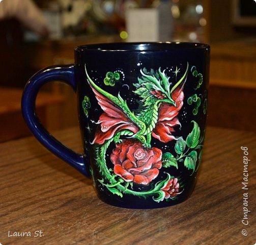 """Чайная кружка """"Цветочный дракон"""""""