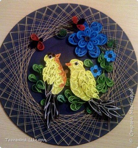 Красивая влюбленная пара птичек в технике квиллинг. фото 3