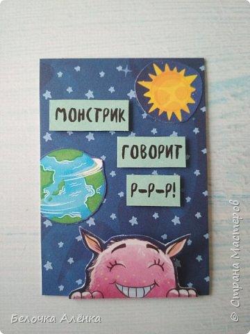 """Представляю вашему вниманию новую серию карточек, выполненную в рамках """"совместника на двоих""""! :) Тема - космос.  Это супер долгие космические карточки, идею о которых я вынашивала несколько месяцев, но не знала, с чего именно начать.  Пожаловалась Викулетте, и решили мы организовать что-то подобное совместнику.  Вот моя космическая серия, она мне кажется довольно забавной :)   Первыми к выбору приглашаются Нельча и Oksana Gordey.  фото 6"""