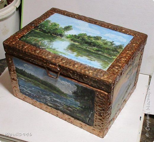 Шкатулка с пейзажами. Все картинки написаны масляными красками фото 1