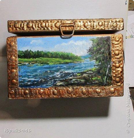Шкатулка с пейзажами. Все картинки написаны масляными красками фото 3