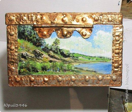 Шкатулка с пейзажами. Все картинки написаны масляными красками фото 5