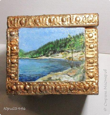 Шкатулка с пейзажами. Все картинки написаны масляными красками фото 6