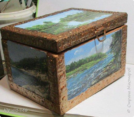 Шкатулка с пейзажами. Все картинки написаны масляными красками фото 7