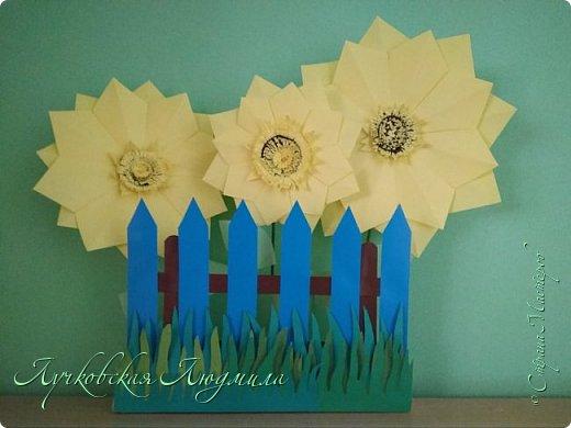 Такие вот подсолнухи, в технике оригами, сделала для украшения группы в детском саду. фото 3