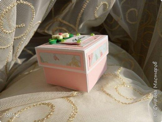 Сегодня у меня коробочка Мамины сокровища. Внутри есть три коробочки для бирочки, локона, соски. Коробочки оформлены в розовых тонах. Украшена цветами в технике квиллинг. (Цветы-также ручная  работа). Использован картон для скрапбукинга с глитером.Размер коробочки 17х6 см. Размер внутренних коробочек 5х5 см.  фото 4