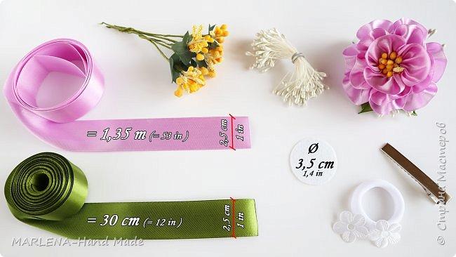Цветы из атласных лент. Резиночки для волос. Канзаши МК/DIY фото 3