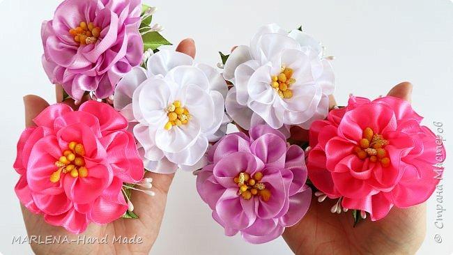 Цветы из атласных лент. Резиночки для волос. Канзаши МК/DIY фото 2