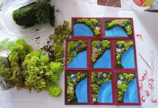 """А вот и моя серия для 1 этапа АТС-игры """"На память о лете"""". В технике Эко. Для меня лето - это зелень, лес, вода, река, озеро, фонтан, рыбки, роса по утрам... Старалась изобразить все это, но получилось так далеко от реальности... Сначала я сделала 8 карточек для игры, а потом не удержалась и еще 4 сделала для друзей в подарок. На этих карточках задники немного отличаются, я не стала там писать, что они сделаны для игры, соответственно поэтому эти АТС не для выбора игрокам. фото 20"""