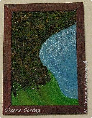 """А вот и моя серия для 1 этапа АТС-игры """"На память о лете"""". В технике Эко. Для меня лето - это зелень, лес, вода, река, озеро, фонтан, рыбки, роса по утрам... Старалась изобразить все это, но получилось так далеко от реальности... Сначала я сделала 8 карточек для игры, а потом не удержалась и еще 4 сделала для друзей в подарок. На этих карточках задники немного отличаются, я не стала там писать, что они сделаны для игры, соответственно поэтому эти АТС не для выбора игрокам. фото 21"""