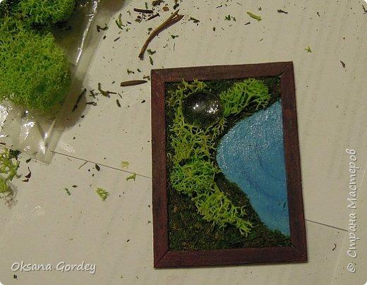 """А вот и моя серия для 1 этапа АТС-игры """"На память о лете"""". В технике Эко. Для меня лето - это зелень, лес, вода, река, озеро, фонтан, рыбки, роса по утрам... Старалась изобразить все это, но получилось так далеко от реальности... Сначала я сделала 8 карточек для игры, а потом не удержалась и еще 4 сделала для друзей в подарок. На этих карточках задники немного отличаются, я не стала там писать, что они сделаны для игры, соответственно поэтому эти АТС не для выбора игрокам. фото 22"""