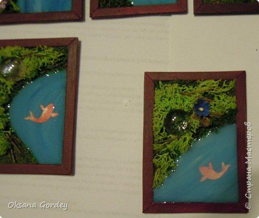 """А вот и моя серия для 1 этапа АТС-игры """"На память о лете"""". В технике Эко. Для меня лето - это зелень, лес, вода, река, озеро, фонтан, рыбки, роса по утрам... Старалась изобразить все это, но получилось так далеко от реальности... Сначала я сделала 8 карточек для игры, а потом не удержалась и еще 4 сделала для друзей в подарок. На этих карточках задники немного отличаются, я не стала там писать, что они сделаны для игры, соответственно поэтому эти АТС не для выбора игрокам. фото 26"""