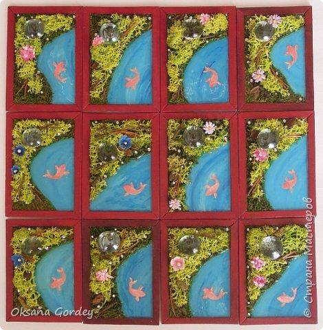 """А вот и моя серия для 1 этапа АТС-игры """"На память о лете"""". В технике Эко. Для меня лето - это зелень, лес, вода, река, озеро, фонтан, рыбки, роса по утрам... Старалась изобразить все это, но получилось так далеко от реальности... Сначала я сделала 8 карточек для игры, а потом не удержалась и еще 4 сделала для друзей в подарок. На этих карточках задники немного отличаются, я не стала там писать, что они сделаны для игры, соответственно поэтому эти АТС не для выбора игрокам. фото 1"""