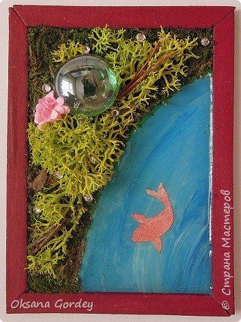 """А вот и моя серия для 1 этапа АТС-игры """"На память о лете"""". В технике Эко. Для меня лето - это зелень, лес, вода, река, озеро, фонтан, рыбки, роса по утрам... Старалась изобразить все это, но получилось так далеко от реальности... Сначала я сделала 8 карточек для игры, а потом не удержалась и еще 4 сделала для друзей в подарок. На этих карточках задники немного отличаются, я не стала там писать, что они сделаны для игры, соответственно поэтому эти АТС не для выбора игрокам. фото 3"""