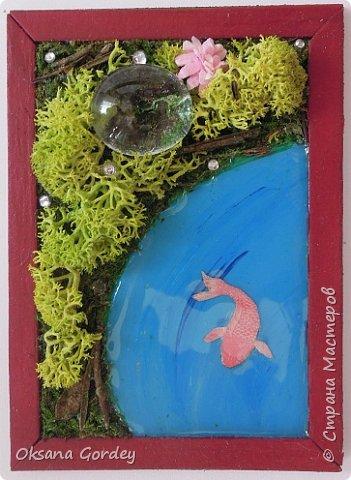 """А вот и моя серия для 1 этапа АТС-игры """"На память о лете"""". В технике Эко. Для меня лето - это зелень, лес, вода, река, озеро, фонтан, рыбки, роса по утрам... Старалась изобразить все это, но получилось так далеко от реальности... Сначала я сделала 8 карточек для игры, а потом не удержалась и еще 4 сделала для друзей в подарок. На этих карточках задники немного отличаются, я не стала там писать, что они сделаны для игры, соответственно поэтому эти АТС не для выбора игрокам. фото 4"""