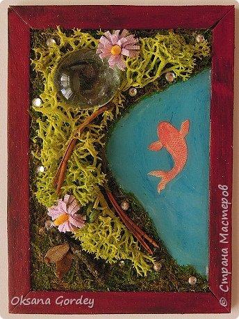 """А вот и моя серия для 1 этапа АТС-игры """"На память о лете"""". В технике Эко. Для меня лето - это зелень, лес, вода, река, озеро, фонтан, рыбки, роса по утрам... Старалась изобразить все это, но получилось так далеко от реальности... Сначала я сделала 8 карточек для игры, а потом не удержалась и еще 4 сделала для друзей в подарок. На этих карточках задники немного отличаются, я не стала там писать, что они сделаны для игры, соответственно поэтому эти АТС не для выбора игрокам. фото 5"""