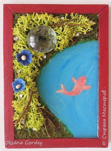 """А вот и моя серия для 1 этапа АТС-игры """"На память о лете"""". В технике Эко. Для меня лето - это зелень, лес, вода, река, озеро, фонтан, рыбки, роса по утрам... Старалась изобразить все это, но получилось так далеко от реальности... Сначала я сделала 8 карточек для игры, а потом не удержалась и еще 4 сделала для друзей в подарок. На этих карточках задники немного отличаются, я не стала там писать, что они сделаны для игры, соответственно поэтому эти АТС не для выбора игрокам. фото 6"""