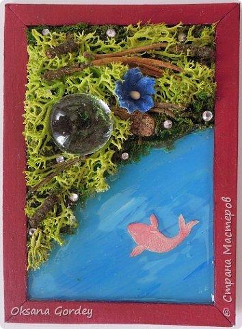 """А вот и моя серия для 1 этапа АТС-игры """"На память о лете"""". В технике Эко. Для меня лето - это зелень, лес, вода, река, озеро, фонтан, рыбки, роса по утрам... Старалась изобразить все это, но получилось так далеко от реальности... Сначала я сделала 8 карточек для игры, а потом не удержалась и еще 4 сделала для друзей в подарок. На этих карточках задники немного отличаются, я не стала там писать, что они сделаны для игры, соответственно поэтому эти АТС не для выбора игрокам. фото 7"""
