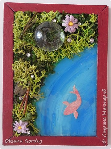 """А вот и моя серия для 1 этапа АТС-игры """"На память о лете"""". В технике Эко. Для меня лето - это зелень, лес, вода, река, озеро, фонтан, рыбки, роса по утрам... Старалась изобразить все это, но получилось так далеко от реальности... Сначала я сделала 8 карточек для игры, а потом не удержалась и еще 4 сделала для друзей в подарок. На этих карточках задники немного отличаются, я не стала там писать, что они сделаны для игры, соответственно поэтому эти АТС не для выбора игрокам. фото 8"""