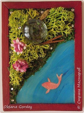 """А вот и моя серия для 1 этапа АТС-игры """"На память о лете"""". В технике Эко. Для меня лето - это зелень, лес, вода, река, озеро, фонтан, рыбки, роса по утрам... Старалась изобразить все это, но получилось так далеко от реальности... Сначала я сделала 8 карточек для игры, а потом не удержалась и еще 4 сделала для друзей в подарок. На этих карточках задники немного отличаются, я не стала там писать, что они сделаны для игры, соответственно поэтому эти АТС не для выбора игрокам. фото 13"""