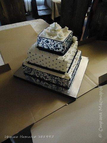 Свадебный торт в синем цвете. Квадратный торт.  фото 3