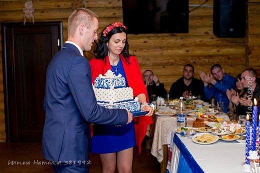 Свадебный торт в синем цвете. Квадратный торт.  фото 2