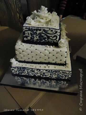 Свадебный торт в синем цвете. Квадратный торт.  фото 4