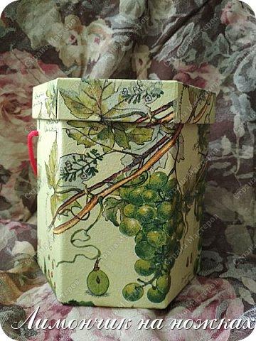 Из коробочки из-под фабричных конфет у меня получилась вот такая симпатичная виноградная коробочка для полезных сладостей )))) фото 2