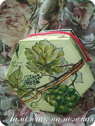Из коробочки из-под фабричных конфет у меня получилась вот такая симпатичная виноградная коробочка для полезных сладостей )))) фото 5