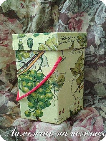 Из коробочки из-под фабричных конфет у меня получилась вот такая симпатичная виноградная коробочка для полезных сладостей )))) фото 6