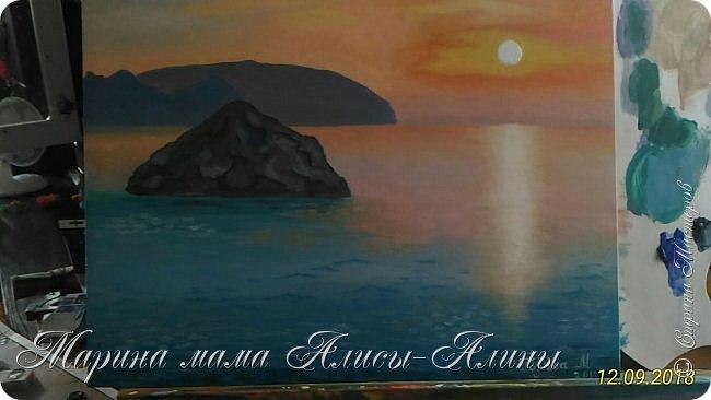"""Написала вот такой морской пейзаж по МК Натаьи Ильюшиной. """"Какого цвет ваше море?"""" Внутренний критик говорит, что я деградирую("""
