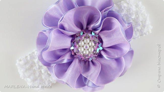 Цветы из лент и органзы. Повязка на голову. Канзаши МК/DIY фото 2